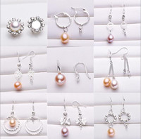 Wholesale pearls 6mm - Pearl Earrings Settings 925 Sliver Stud Earring 16 Styles DIY Pearl Earring Jewelry Settings Suitable for Pearl 6mm and Above Christmas Gift