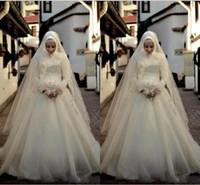 rendas volta vestido de noiva vintage colarinho venda por atacado-Marfim Arábia Árabe Muçulmano Vestidos de Casamento Mangas Compridas Lace Vestidos De Noiva Uma Linha Alta Gola Zip Voltar Até O Chão Vestidos de Casamento de Tule