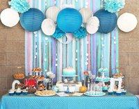 ingrosso lanterne di carta blu-BlueWhite Wedding Tema Sfondo Parete Decorazioni Festa Tifosi di carta, Lanterne, Stelle filanti di carta crespa Compleanno della doccia