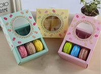 Wholesale mooncake package - 12*11*5.2cm DHL Shipping Macaron cake paper box with Window Biscuits Packaging Box 3 colors100pcs lot DHL Shipping