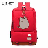 Wholesale white cat backpack - WISHOT Pusheen Cat cute unicorn backpack schoolbag casual backpack teenagers Men women's Student School Bags travel Laptop Bag