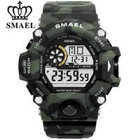 цифровые часы для дайвинга оптовых-SMAEL Мужские спортивные часы S-SHOCK Военные часы Модные камуфляжные наручные часы Dive мужские спортивные светодиодные цифровые водонепроницаемые часы