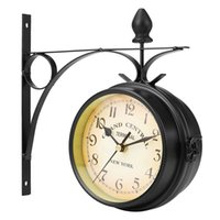 Wholesale frame sides for sale - Group buy Separates Charminer Double Sided Round Wall Mount Station Clock Garden Vintage Retro Home Decor Metal Frame Glass Dial Cover