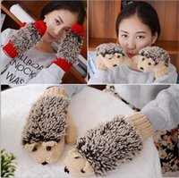Wholesale heating mittens resale online - 50pcs colors Novelty Cartoon Winter Gloves for Women Knit Warm Fitness Gloves Hedgehog Heated Villus Wrist Mittens R194