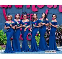 Wholesale best custom made shirts - 2018 Best Selling Off The Shoulder Mermaid Short Sleeves Royal Blue Bridesmaid Dresses Custom Made Party Prom Gowns
