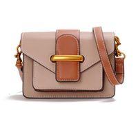 güney kore moda derisi toptan satış-Guangzhou Deri çanta 2019 Yeni Güney Kore Dongdaegu Retro Kontrast renk çanta Bayan Moda çanta Paket
