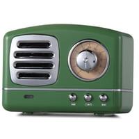 vintage baslar toptan satış-Kablosuz Bluetooth Hoparlörler Retro Vintage Yenilikçi Radyo Taşınabilir Mini Hoparlör Stereo Derin Bas FM U disk TF Handsfree Subwoofer USZ176
