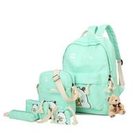 sırt çantası kanvas toptan satış-6 Takım Kızlar Sırt Çantası Kadın Öğrencileri Schoolbag Gençler için Sevimli Meyve Baskı Tuval Okul Sırt Çantaları Yüksek Kaliteli Satchel