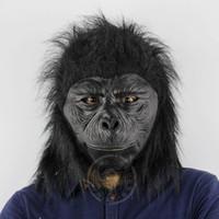 kostümler goriller toptan satış-Lateks Şempanze Başkanı Maske Hayvan Goril Maske Cadılar Bayramı Fantezi Elbise Parti Cosplay Cadılar Bayramı Kostüm malzemeleri Cadılar Bayramı