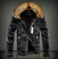 Wholesale fur winter jackets for men - Winter Denim Jackets For Men Male Fur Collar Plus Thick Velvet Jeans Outwear Coat Roupas Masculinas