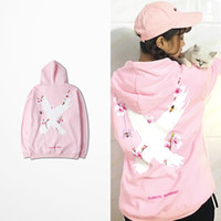 Wholesale fashion designing mens wear - Plum Blossom Cross Print Pink Hoodie Men Casual Wear Fashion Design West Coast Harajuku Mens Hoodies And Sweatshirts Asia Size