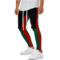 ingrosso tasca pista-Pantaloni con cinturino con cerniera 4 colori Cinturino in vita con bande laterali Tasche con zip a contrasto Colore Pantaloni retrò Pantaloni da jogging