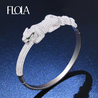 pulsera dubai al por mayor-FLOLA Animal Leopard Bangles para Mujer Hombre Plata Zircon Panther Love Bracelet Bangle Dubai Wedding Joyería de moda brta83