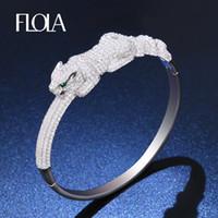 ingrosso bracciale dubai-FLOLA Animal Leopard Braccialetti per Donna Uomo Argento Zircon Panther Love Bracelet Bangle Dubai Wedding Fashion Jewelry brta83