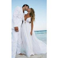 beach wedding dresses großhandel-2019 neue sexy tiefem v-ausschnitt strand hochzeitskleid spaghetti riemen backless chiffon brautkleider mit falten vestido de noiva