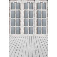 муслиновый фон оптовых-5x7ft винил серый раздвижные двери окна деревянный пол фон фотостудия фон
