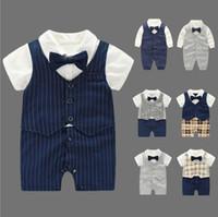 Wholesale Wholesale Organic Baby Rompers - Vieeoease Baby Romper Gentleman Boys Clothing 2018 Spring Jumpsuits Rompers Long Sleeve newborn Bow Straps Romper MA-079