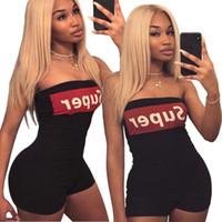Wholesale casual strapless black jumpsuit - Women strapless letter print casual club party bodycon short jumpsuit playsuit