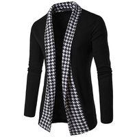 mens polyester pamuklu hırka toptan satış-Erkekler Muhtasar V Yaka Ekose Kazak Pamuk Kazak Erkekler Uzun Kollu Hırka Erkek Kazak Gevşek Fit Casual Stil Giyim Yeni Yüksek Kalite Yeni