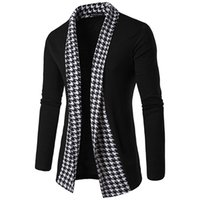 Wholesale clothes chinese style men online - Men Concise V Neck Plaid Sweater Cotton Sweater Men Long Sleeve Cardigan Mens Sweaters Loose Fit Casual Style Clothing New High Quality New