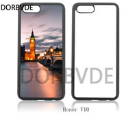 Wholesale huawei honor free shipping resale online - 2D Sublimation Rubber tpu blank cases cover skin For Huawei Honor V10 Y6 Y9 model with plates and glue