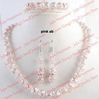 одно серьги ожерелье серьги оптовых-one set Handmade Pink AB Crystal Glass  Jewelry Set Necklace,Earring and Bracelet 239