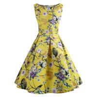 gelbe röcke druckt mode großhandel-Damenmode 2019 Sommermode plus size Gelb Casual Kleider für Damen Blumendruck Sleeveless Vintage Prom Dress Expansion Rock