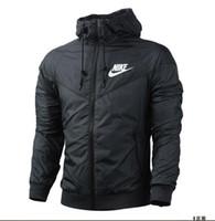más ropa de tamaño para al por mayor-2018 moda nueva chaqueta de los hombres de manga larga negro abrigo Deportes de otoño Corredor de viento al aire libre con cremallera ropa de hombre de los hombres de más tamaño FBGFDG