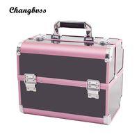 держатель чемодана оптовых-2017 Fashion Female Women Holder Make Up Box Pink&Black Professional Cosmetic Bag PVC  Organizer Suitcase  Pouch