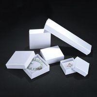 ingrosso scatole da regalo per gioielli-Contenitore di regalo di gioielli di carta bianca Confezione di orecchini a forma di anello di gioielli universali per orecchini con ciondolo a forma di orecchini a dito