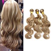 sarışın vurgulamak saç toptan satış-8A Açık Kahverengi Sarışın Karışık Piyano Renk Saç # 8/613 Vurgulamak Vücut Dalga Brezilyalı Virgin İnsan Saç Uzantıları 3 Adet Lot