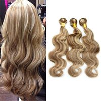 Wholesale Brown Hair Extensions Highlights - 8A Light Brown with Blonde Mixed Piano Color Hair #8 613 Highlight Body Wave Brazilian Virgin Human Hair Weaves Extensions 3Pcs Lot