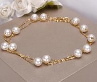 collares de perlas de agua dulce de china al por mayor-Collar de perlas blancas de 18 quilates de oro de 5-5.5mm Collar de perlas de agua dulce de China