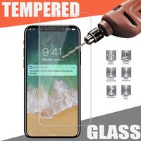 Wholesale moq screen protector - Tempered Glass Screen Protector Film Guard 9H Hardness Explosion Shatter Film For iPhone X 8 7 6 6S Plus Samsung Galaxy S9 S8 Plus MOQ:10pcs