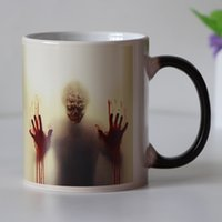 manos sangrientas al por mayor-Empuñadura Diseño más nuevo Zombie Cambio de color Taza de café Taza sensible al calor Tazas Walking Dead Bloody Hands Regalo