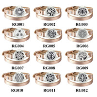 Wholesale real silver lockets for sale - Group buy Stainless Steel Bracelets With Real Leather Essential Oil Diffuser Aromatherapy Locket Bracelets free felt pads