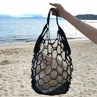 Wholesale Large Mesh Tote Bag - New Korean INS Hollow Out Mesh Bags Retro Color Handbags Bucket Packs Leisure Large Capacity Beach Bags Holiday Seaside