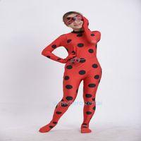 halloween kostümü böcek toptan satış-Lady Bug Cosplay Kostüm Fullbody elastikiyet Spandex Kadın Süper Kahraman Kostüm Oyunu Cosplay çocuk cadılar bayramı catsuit özel