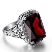 paare ringen rubin großhandel-Mode Retro Gothic Rubin 925 Sterling Silber Überzogene Ring Personalisierte Punk Unisex Paar Ringe Schmuck Größe 6-10