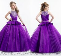 Wholesale Peplum Flower Girl Dresses - Cute Purple Ball Gown Princess Girl's Pageant Dresses Sparkling Beaded Crystals Zipper Back with Peplum Ruffles Flower Girls Dresses BA4477