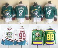Wholesale banks usa - Mighty Ducks 99 Adam Banks Hockey Jerseys 8 Teemu Selanne 9 Paul Kariya 96 Charlie Conway Team USA All-Star Green White Anaheim Stitched