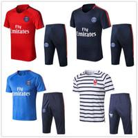 Wholesale red army pants - New Paris summer soccer Short sleeve 3 4 pants tracksuit 2018-19 NEYMARJR CAVANI MBAPPE Fotball jogging Training suit