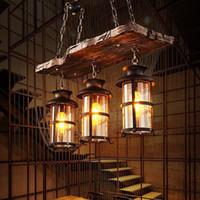 luces colgantes de metal industriales al por mayor-Lámpara colgante de madera forjada industrial Woody Lámpara colgante Lámpara colgante Luces de celda Jaula de metal con pantalla de vidrio para barra interior
