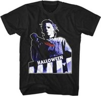 esboço de moda venda por atacado-Halloween Michael Myers Branco Outline Adult T Shirt Grande Clássico MovieMens 2018 Marca de moda T Shirt O Pescoço 100% algodão