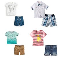 Wholesale Striped Shirt Kids - 2-7T Boys Tops&Shorts Suits Clothing Sets Short Sleeve T-shirts Round-neck Kids Printed Tops Cotton Boys Summer Clothes
