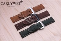 Wholesale thick leather belts - 20 22 24 26mm Suede Real Leather Handmade Thick VINTAGE Wrist Watch Band Band Strap Belt Brush Polish Screw Buckle