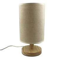 Wholesale beige bedroom designs - 2018 New Design Modern Minimalist Wood Fabric Table Lamp USB Plug Bedroom Bedside Lamp Indoor Living Room Bedroom Night Light
