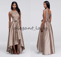 Wholesale chiffon high low prom dress - Brown Sequin Lace Dress with Mikado Skirt Mother of the Bride Groom Dresses 2018 High Low Jewel Women Formal Party Prom Dress with Bow Sash