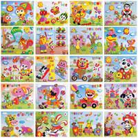 ingrosso puzzle adesivo eva diy-Giocattoli per bambini FAI DA TE Schiuma Cartone animato Animal Pattern Sticker Personal Handwork Puzzle Paper Board Sviluppo giocattoli educativi Giocattoli