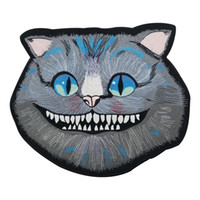 Cheshire Cat Large Embroidered Patch Iron On Big Size for Full Back of Jacket Rider Biker Patch Free Shipping